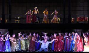 Acte III : Anita Rachvelishvili (Dalila), Aleksandrs Antonenko (Samson), Egils Silins ( Le Grand Prêtre de Dagon)